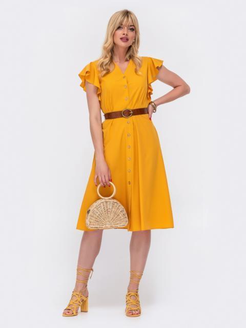 Желтое платье приталенного силуэта с рукавом крылышко 48548, фото 1
