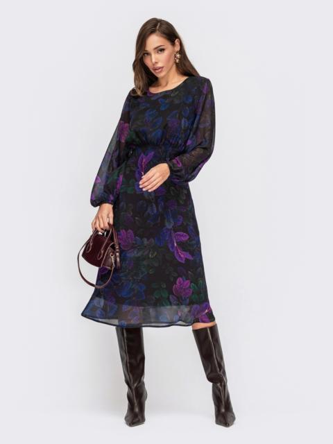 Шифоновое платье в цветочный принт с завышенной талией черное 55402, фото 1