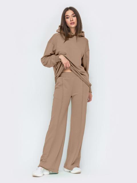 Коричневый костюм с худи и брюками на резинке 55311, фото 1
