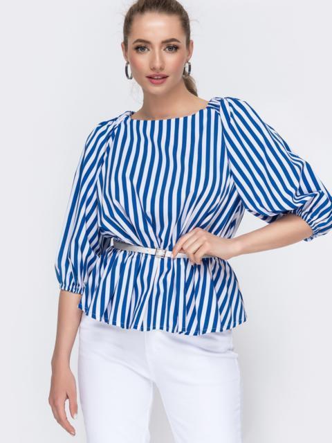 Блузка свободного кроя с баской в синюю полоску 46788, фото 1