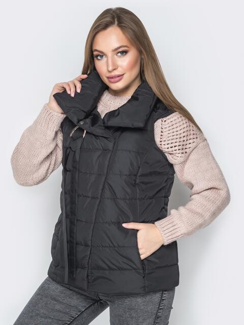 Чёрный жилет с объёмным воротником и карманами - 20054, фото 1 – интернет-магазин Dressa