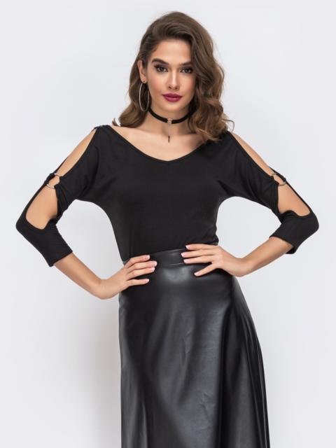 Кофта с вырезами по рукаву чёрная - 43076, фото 1 – интернет-магазин Dressa
