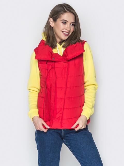 Красный жилет с объёмным воротником и карманами - 20055, фото 1 – интернет-магазин Dressa