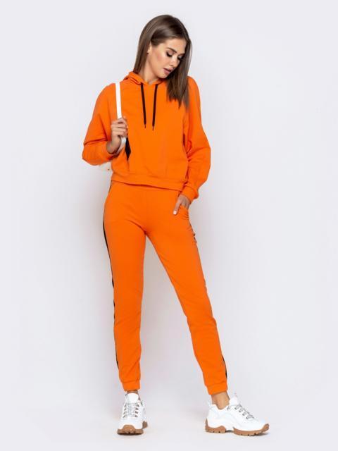 Оранжевый комплект из худи и брюк-джоггеров - 40746, фото 1 – интернет-магазин Dressa