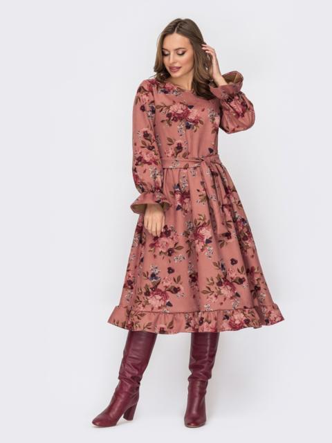 Платье из замши с принтом и расклешенной юбкой пудровое 52345, фото 1