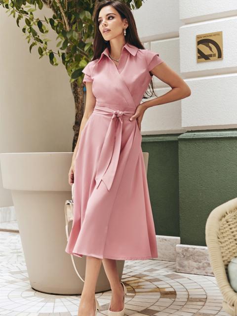 """Платье на запах с рукавом """"крылышко"""" цвета пудры - 48996, фото 1 – интернет-магазин Dressa"""