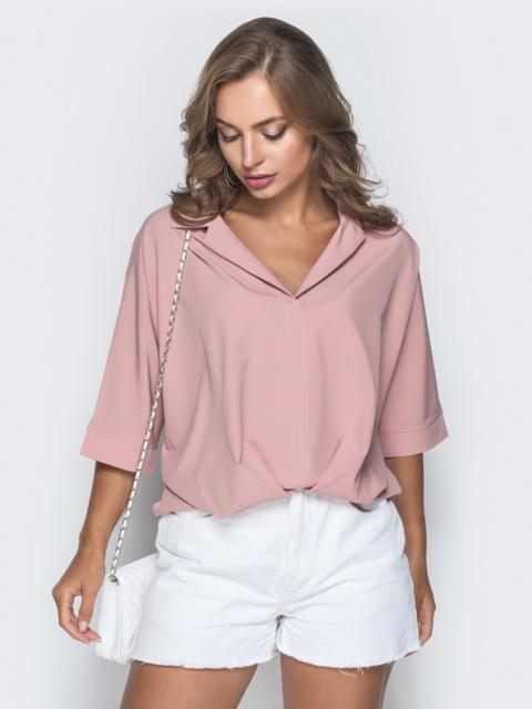 Свободная блузка с резинкой по низу пудровая - 38481, фото 1 – интернет-магазин Dressa