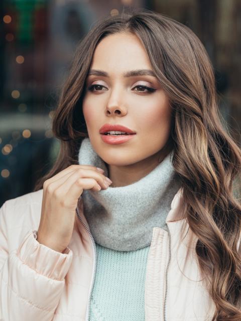 Тонкий шарф-хомут из мягкой ангоры серый 51087, фото 1