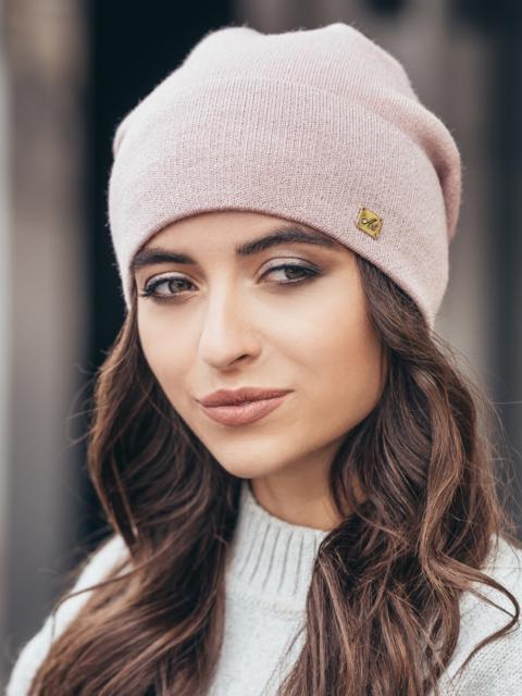 Зимняя шапка без помпона с нитью люрекса розовая - 14731, фото 1 – интернет-магазин Dressa