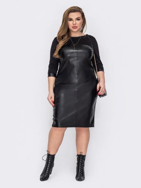 Черное платье батал со вставками из экокожи 53192, фото 1