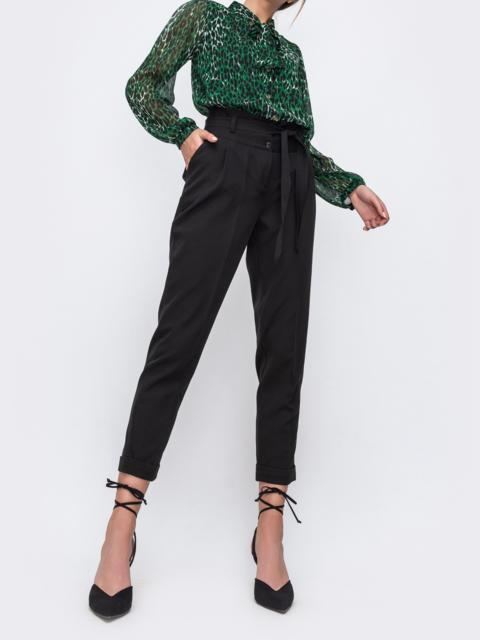 Чёрные укороченные брюки с подворотами 48675, фото 1