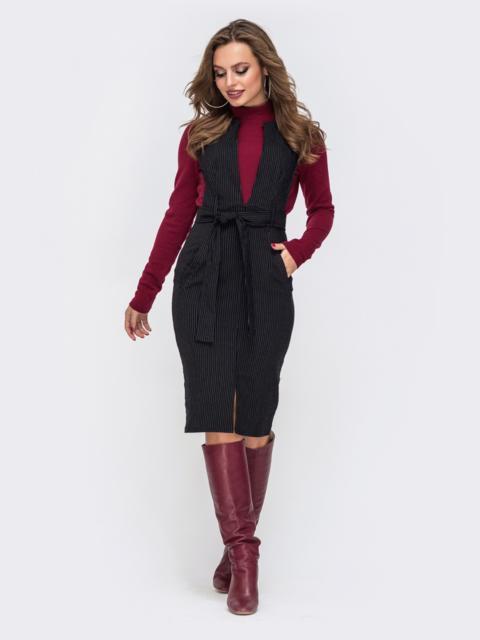 Чёрный сарафан в полоску с глубоким V-вырезом и карманами - 21234, фото 1 – интернет-магазин Dressa
