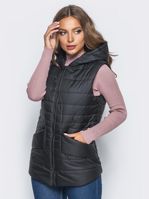Черный стёганый жилет с капюшоном и карманами - 14693, фото 1 – интернет-магазин Dressa