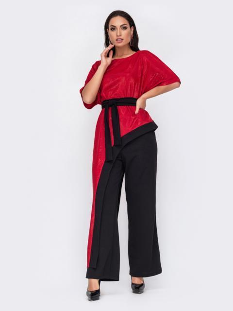 Комплект батал из асимметричной блузки с люрексом красный 52210, фото 1