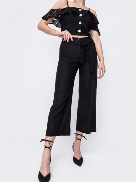 Льняные брюки-кюлоты на молнии черные 46794, фото 1