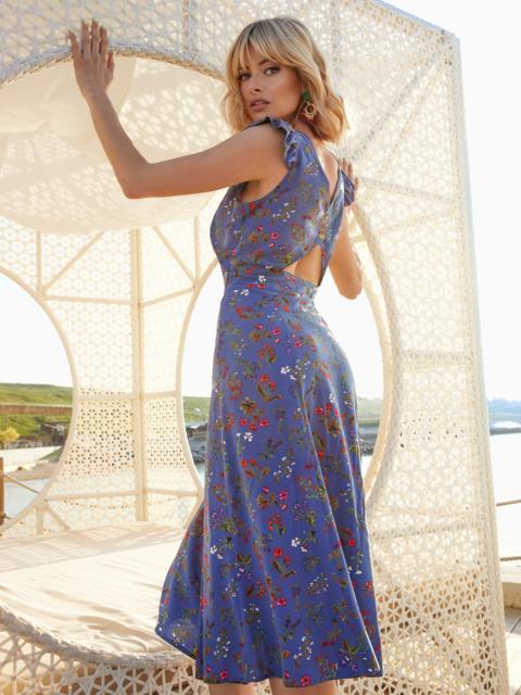 Синее платье с оригинальным вырезом по спинке 54283, фото 1