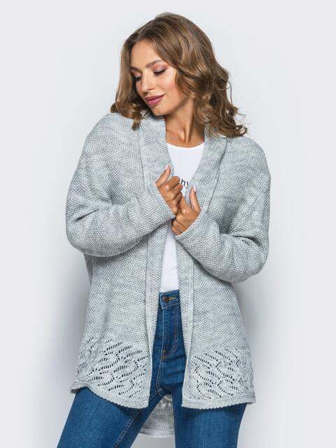 Укороченный светло-серый кардиган с ажурной вязкой на спинке - 15819, фото 1 – интернет-магазин Dressa