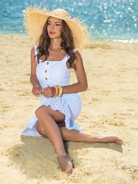 Белое платье из прошвы с удлиненной спинкой 38702, фото 1