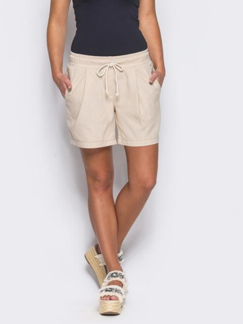 Бежевые шорты на резинке с карманами по бокам - 12112, фото 1 – интернет-магазин Dressa