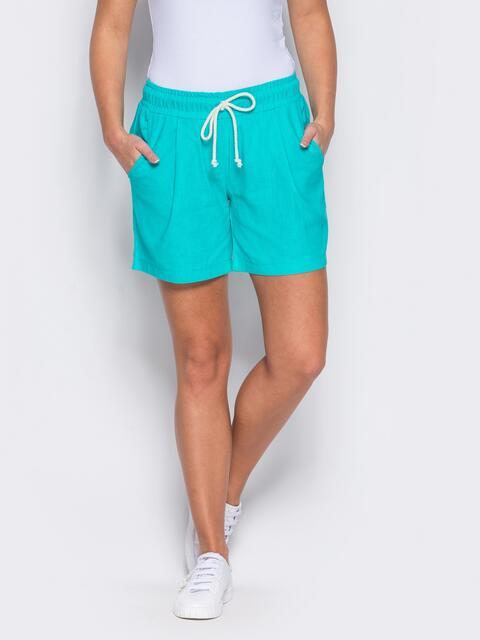 Бирюзовые шорты на резинке с карманами по бокам - 12115, фото 1 – интернет-магазин Dressa