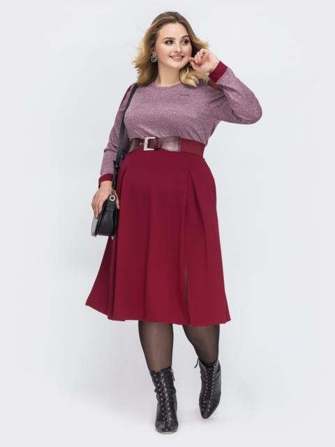 Бордовое платье батал с расклешенной юбкой 43913, фото 1