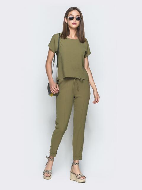 Брючный комплект цвета хаки с блузкой - 39359, фото 1 – интернет-магазин Dressa