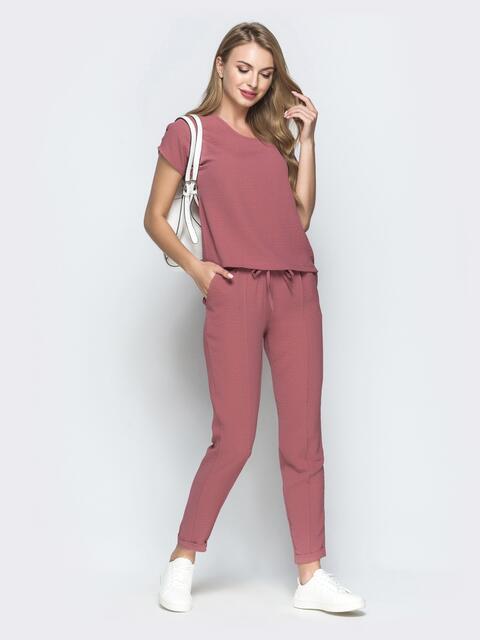 Брючный комплект розового цвета с блузкой - 39358, фото 1 – интернет-магазин Dressa