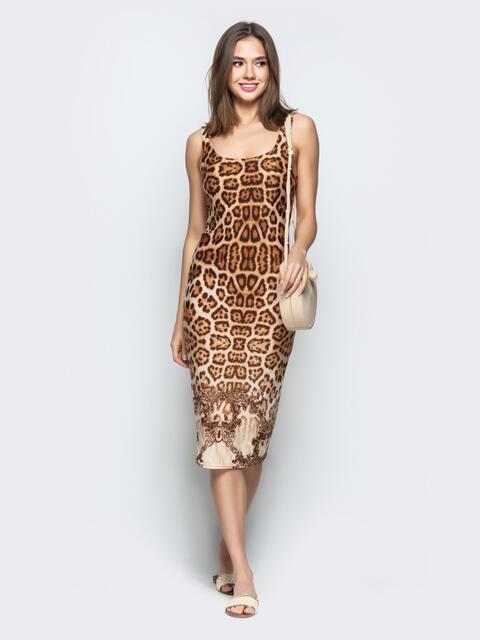 Обтягивающее платье с анималистичным принтом коричневое - 22364, фото 1 – интернет-магазин Dressa