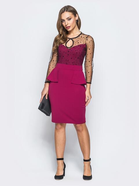Платье-футляр с баской и фатиновыми рукавами бордовое - 18285, фото 1 – интернет-магазин Dressa