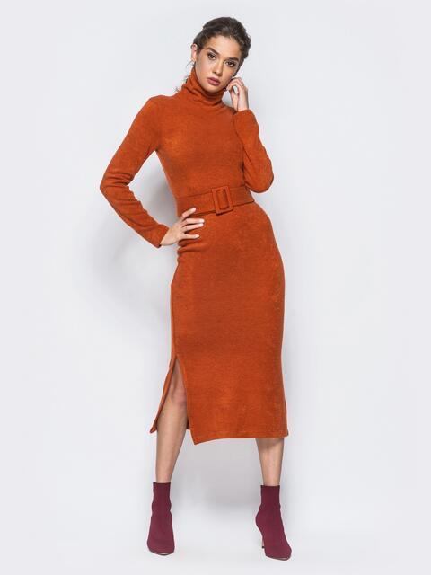 Платье-гольф коричневого цвета из мягкой ангоры - 17886, фото 1 – интернет-магазин Dressa