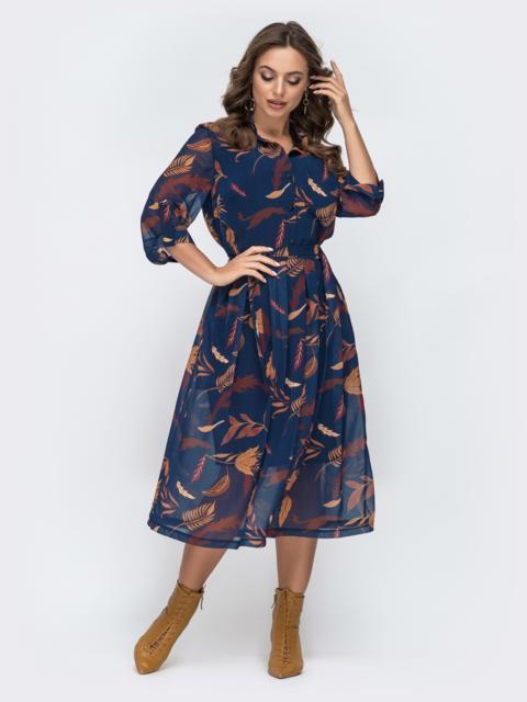 Платье из шифона с цветочным принтом тёмно-синее 45053, фото 1