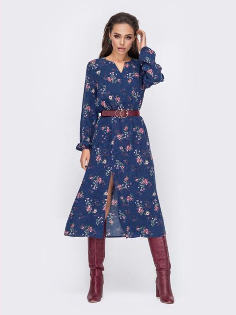 Расклешенное платье с цветочным принтом и вырезом синее 51204, фото 1