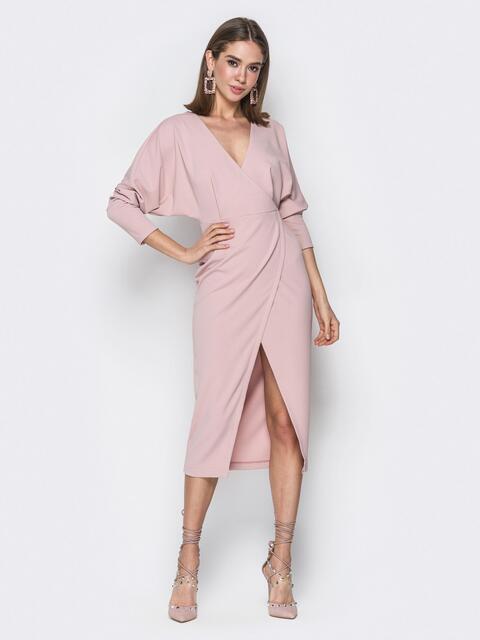 """Розовое платье-миди с рукавом """"летучая мышь"""" - 20113, фото 1 – интернет-магазин Dressa"""
