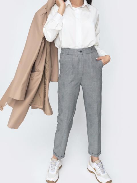 Серые брюки в клетку с завышенной талией 45618, фото 1