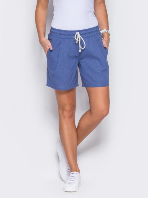 Синие шорты на резинке с карманами по бокам - 12117, фото 1 – интернет-магазин Dressa
