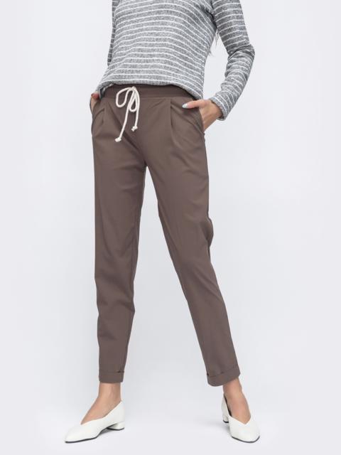 Укороченные брюки со стандартной посадкой бежевые 45623, фото 1