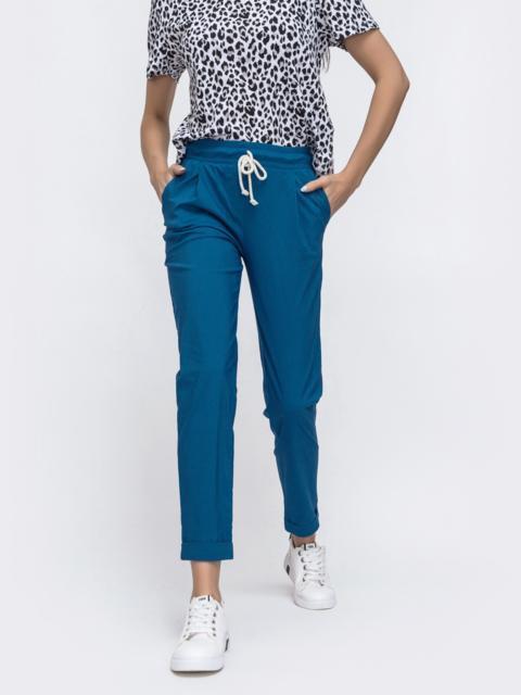 Укороченные брюки со стандартной посадкой синие 45622, фото 1
