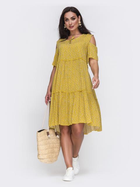 Желтое платье батал с принтом и открытыми плечами 49590, фото 1