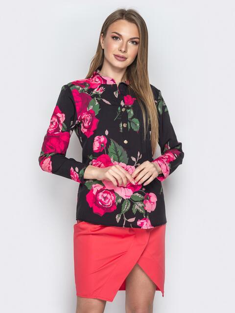 811efd5b432 Чёрная блузка из софта с цветочным принтом 20544 – купить в Киеве ...