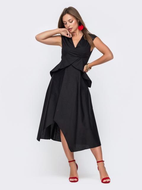 Чёрное платье-миди с асимметричным низом 49428, фото 1