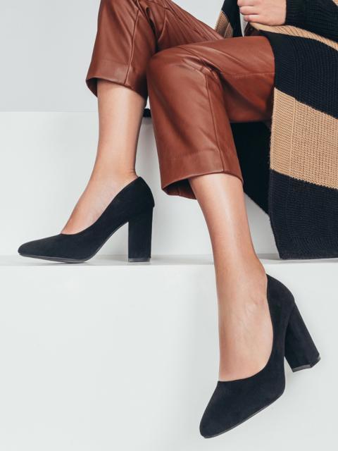 Чёрные туфли из искусственной замши на устойчивом каблуке 50488, фото 1