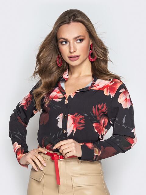 Принтованная блузка из софта чёрная - 20543, фото 1 – интернет-магазин Dressa