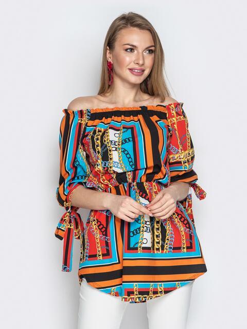 """Принтованная блузка с резинкой по талии и воротником """"анжелика"""" - 20546, фото 1 – интернет-магазин Dressa"""
