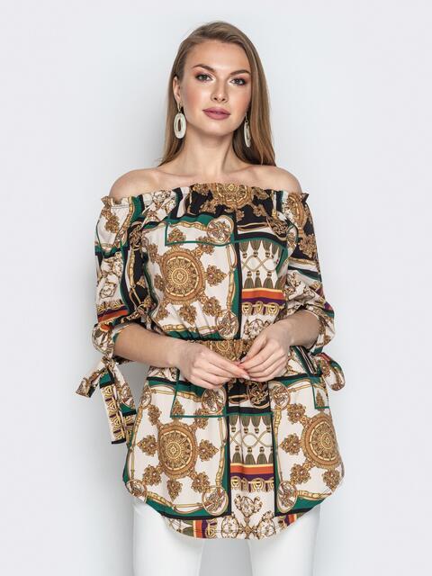 """Принтованная блузка с воротником """"анжелика"""" и резинкой по талии - 20547, фото 1 – интернет-магазин Dressa"""