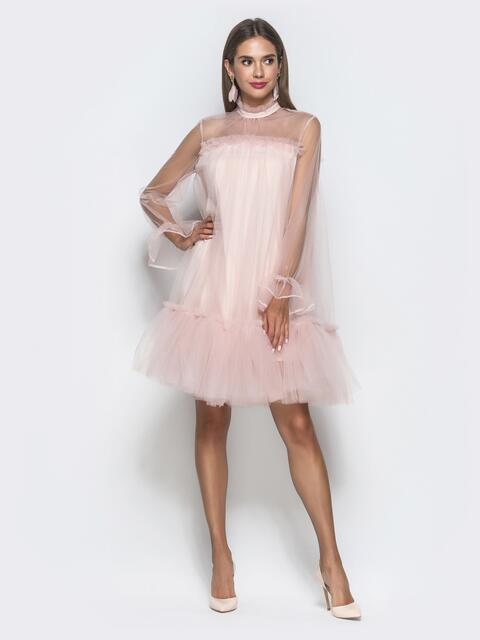 55547f5fa9595 Пудровое платье-трапеция из фатина с воланом по низу - 40121, фото 1 –