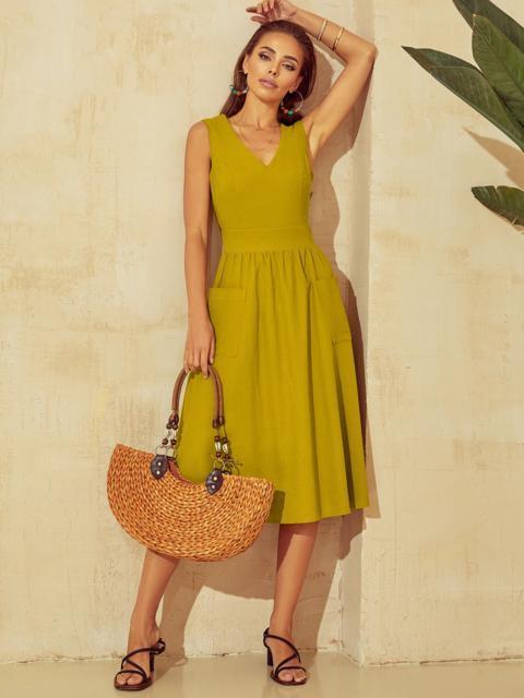 Расклешенное желтое платье отрезное по талии 53916, фото 2