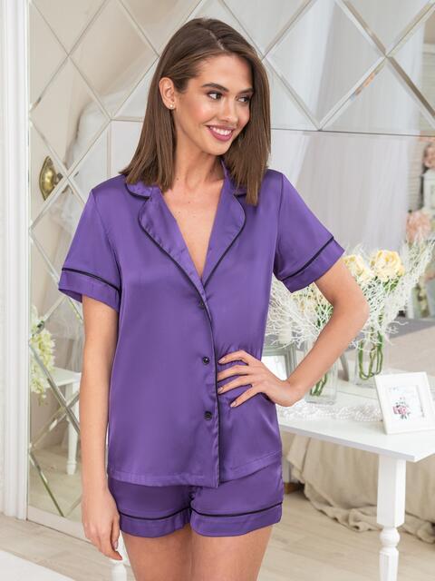 Шелковая пижама с окантовкой на рубашке и шортах сиреневая - 20711, фото 1 – интернет-магазин Dressa