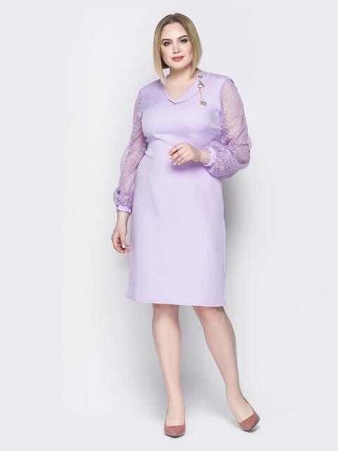 Сиреневое платье с рукавами из фатина на манжете - 19962, фото 1 – интернет-магазин Dressa