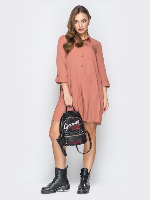 Свободное платье-рубашка с юбкой-плиссе оранжевое - 19588, фото 1 – интернет-магазин Dressa