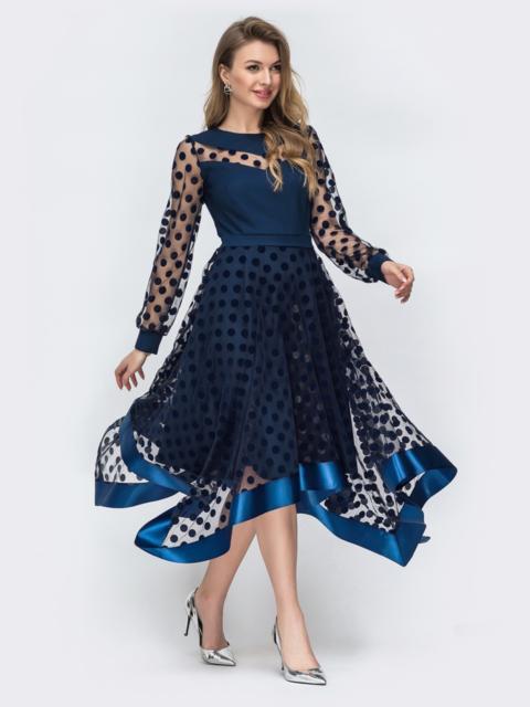 Тёмно-синее платье в горох с рукавами и юбкой из фатина - 45848, фото 1 – интернет-магазин Dressa